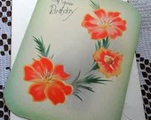 Vintage Happy Birthday Embossed Trailing Orange Yellow Flowers Greeting Card & Envelope 1940s 1950s Unused On Your Birthday Marchant 314 USA