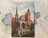 Antique Vintage Color Photo Postcard 1900s Trinity Church NEW YORK CITY N.Y. 1908 Old Buildings City Scene Architecture