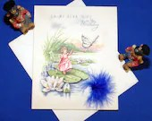 Vintage To My Dear Wife on Her Birthday Embossed Greeting Card & Envelope Girl on Lily Pad with Butterfly and Feather 1940s 1950s Unused
