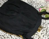 Vintage 1950s  Black Fabric Evening Purse by Princess Satin Lined