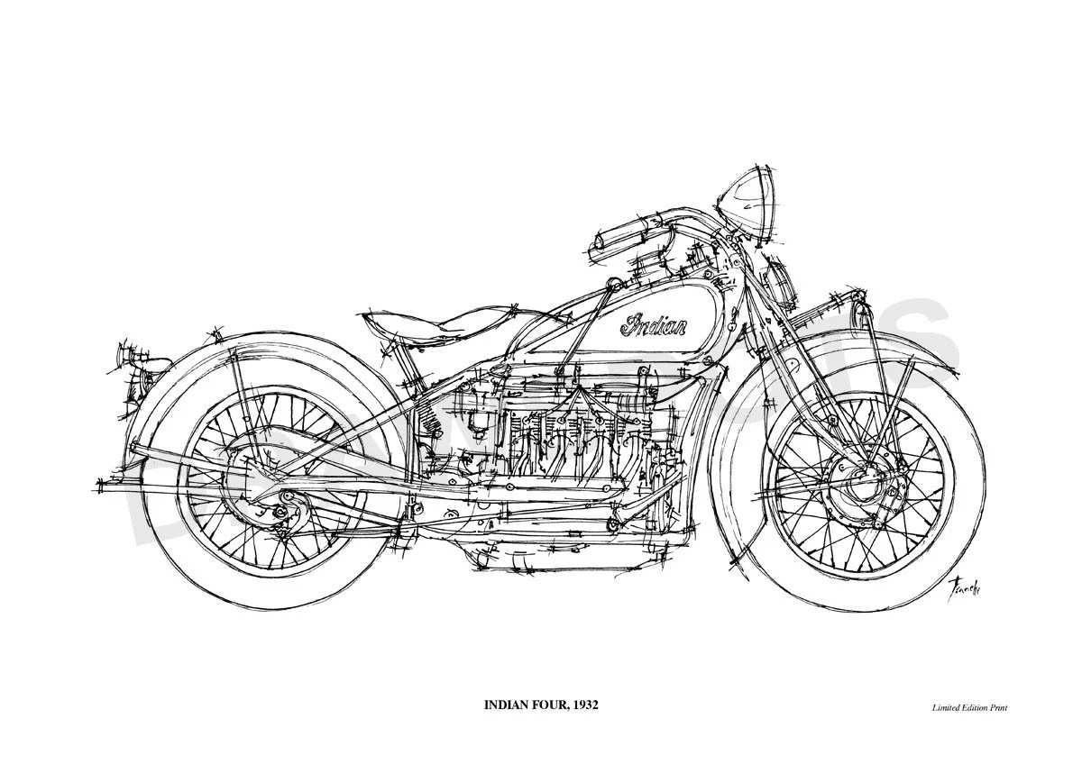 INDIAN SCOUT 1949 Original Handmade Drawing Print 11.5x16