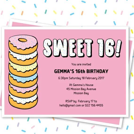 donut sweet 16 invitation