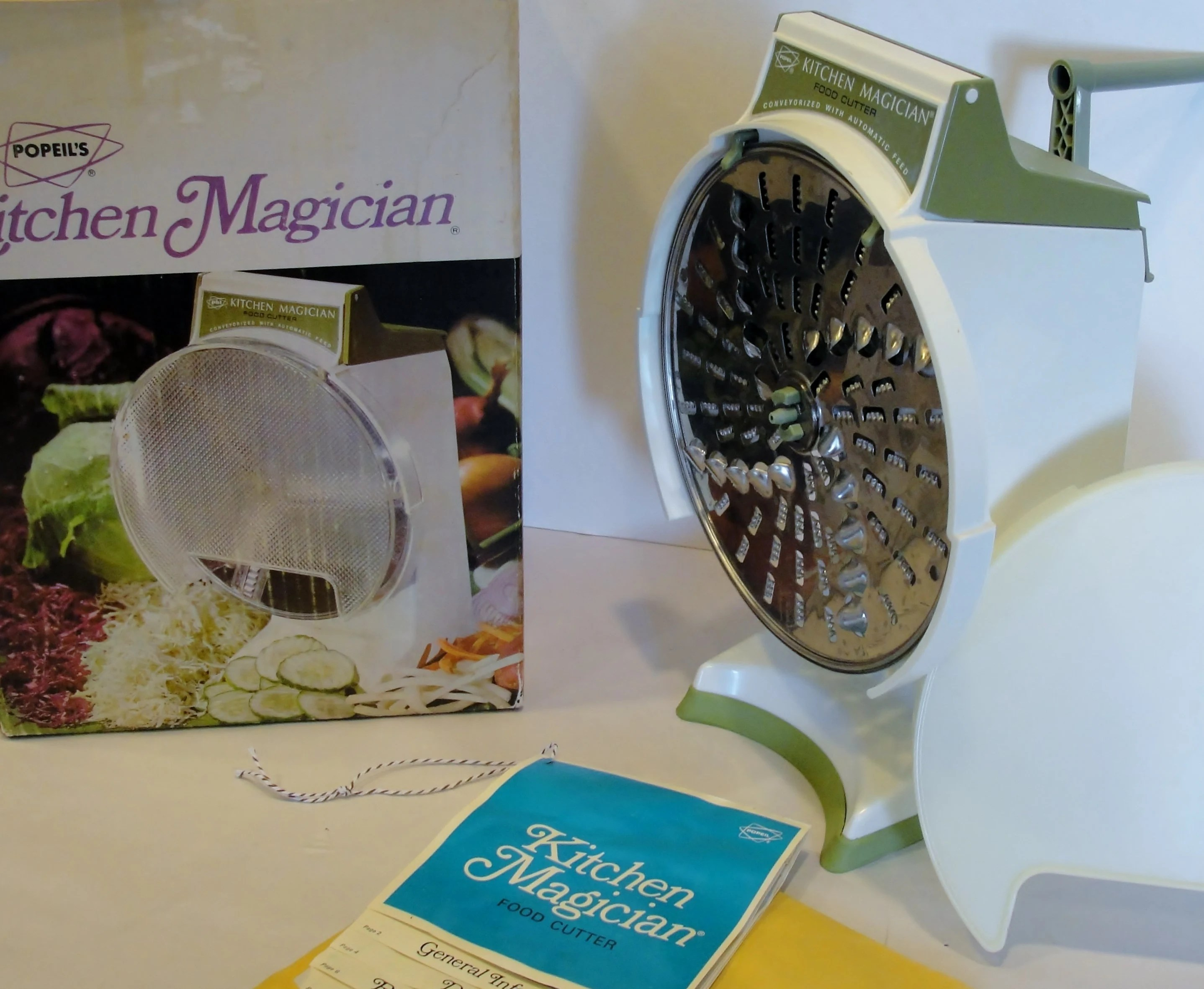 kitchen magician sage green cabinets 1970s food slicer and shredder by popeil etsy image 0