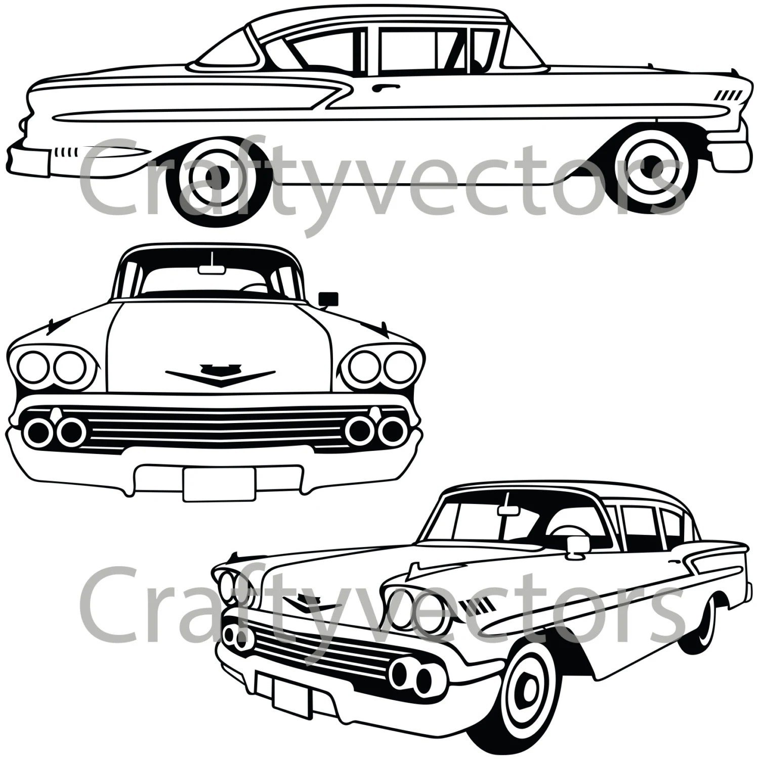 Chevrolet Bel Air 1958 Vector File