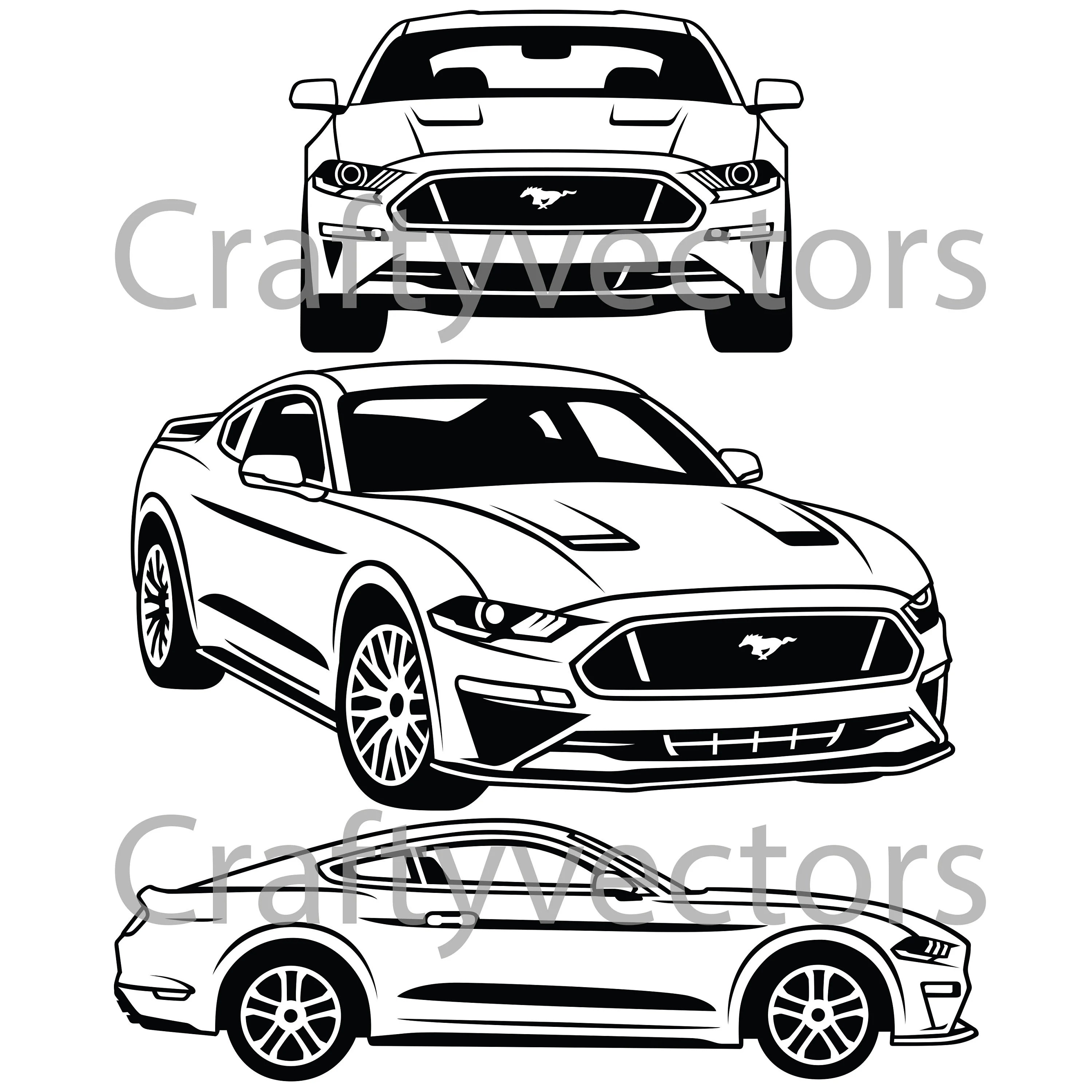 Ford Mustang Vector Svg Cut File