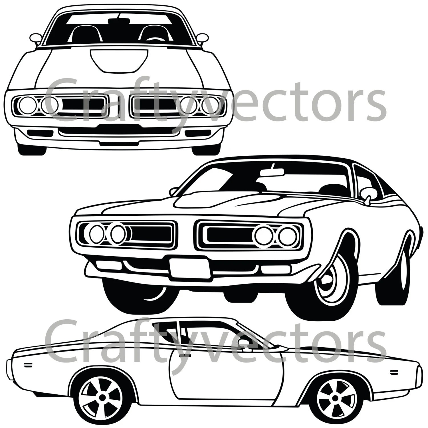 Dodge Charger 71 Vector File