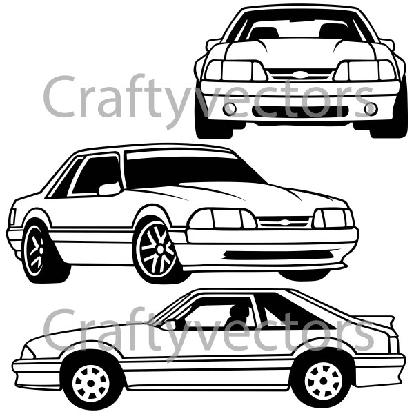Ford Mustang 88 Vector File Etsy