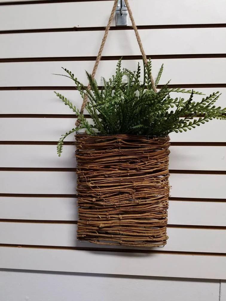 Woven Wall Basket Wall Decor Door Wire Basket Faux Plant Grapevine Farmhouse