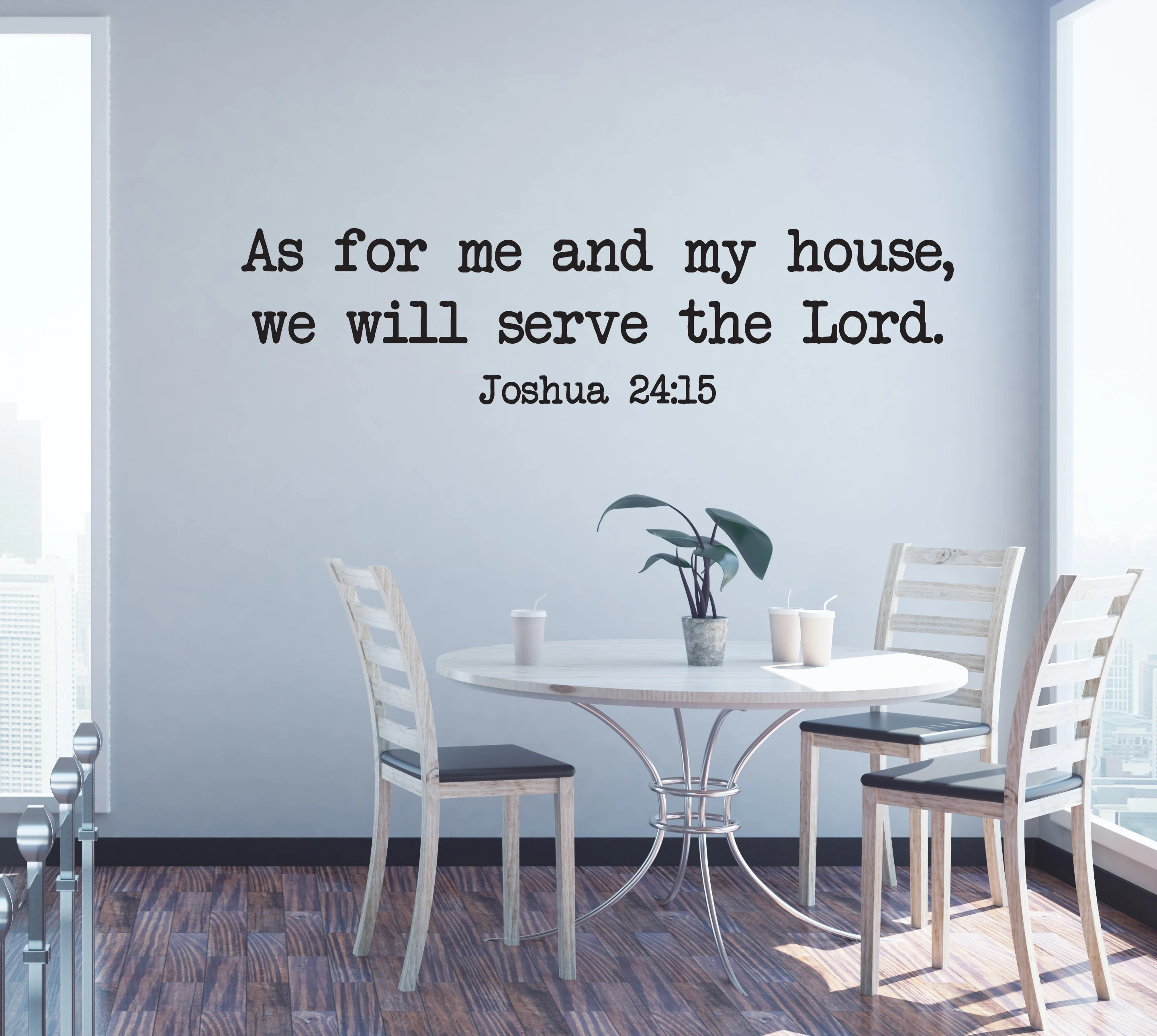 My Home 24 Vinyl Wall Art Decal | Joshua 24:15 | As For Me And My House, We Will Serve The Lord. | Christian Home Household Family Living Room Decor