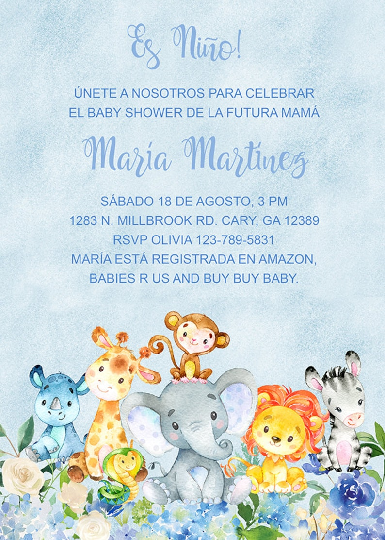 Baby Shower Invitations En Espanol : shower, invitations, espanol, Niño, Invitación, Shower, Español, Safari
