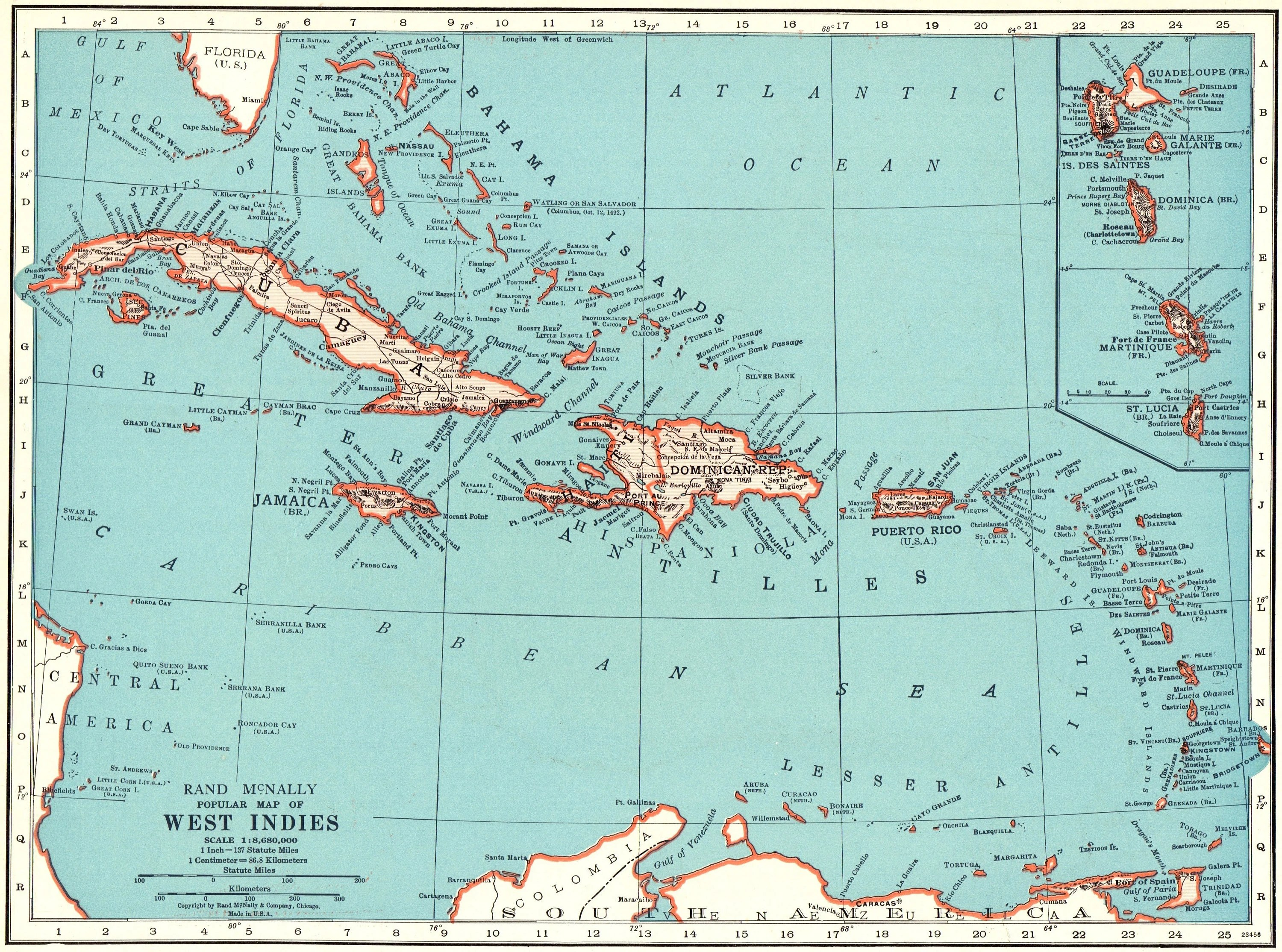 Map Faded Vintage Islands Caribbean