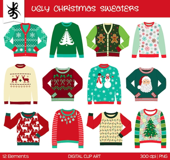 Ugly Christmas Sweater Clipart Commercial Use Digital Clip