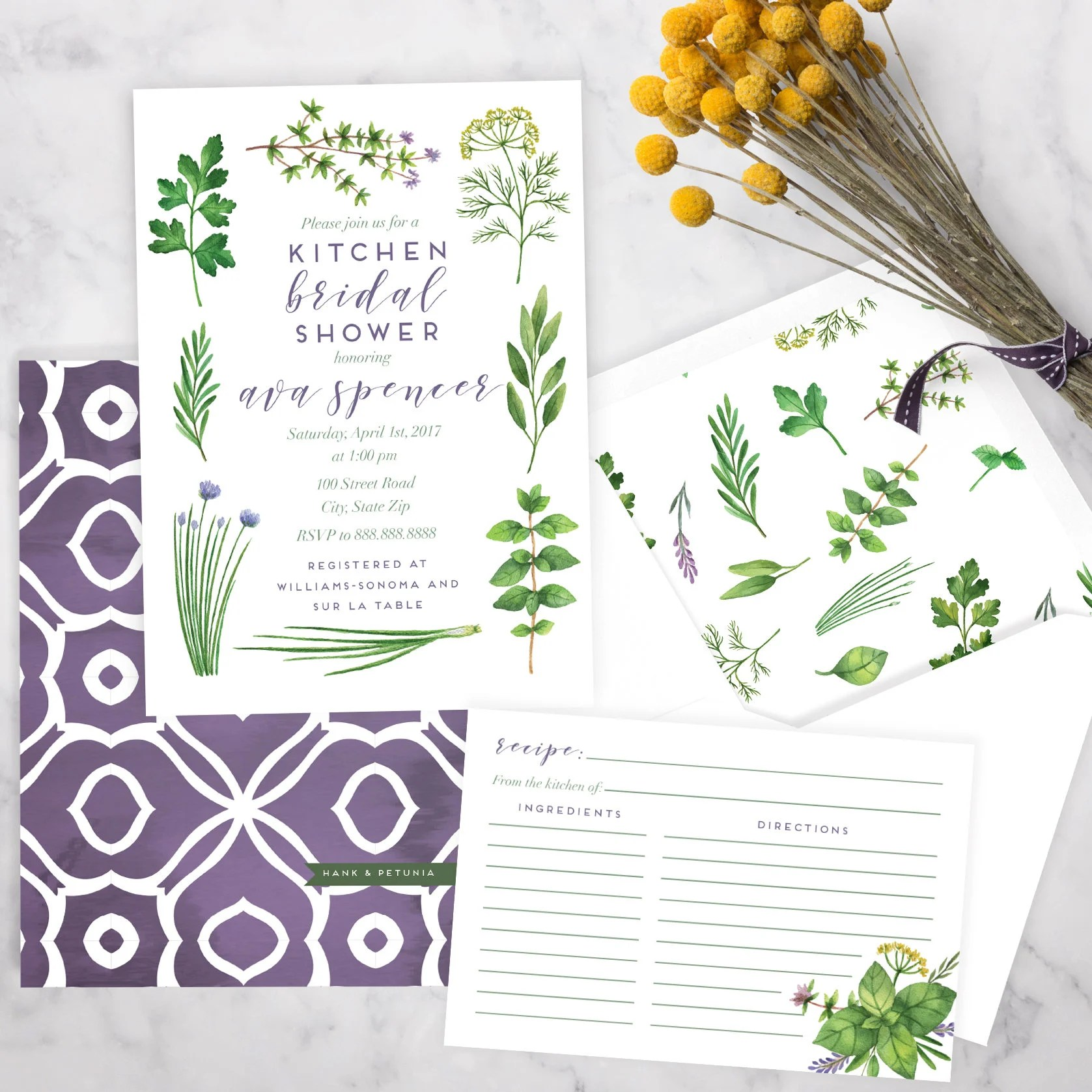 kitchen bridal shower cabinets refacing cost watercolor herbs invitation herb garden invite recipe envelope liner