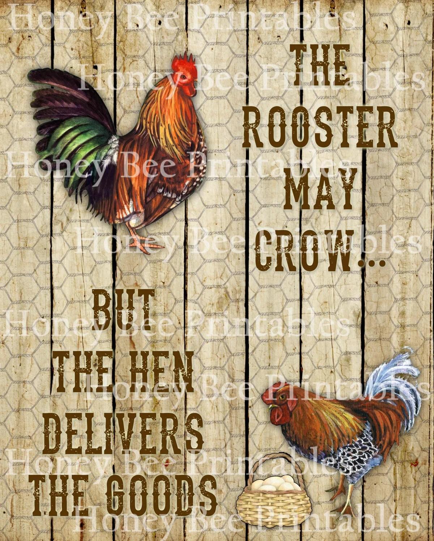 Primitive Rooster Hen Eggs Chicken Farm Animals Printable