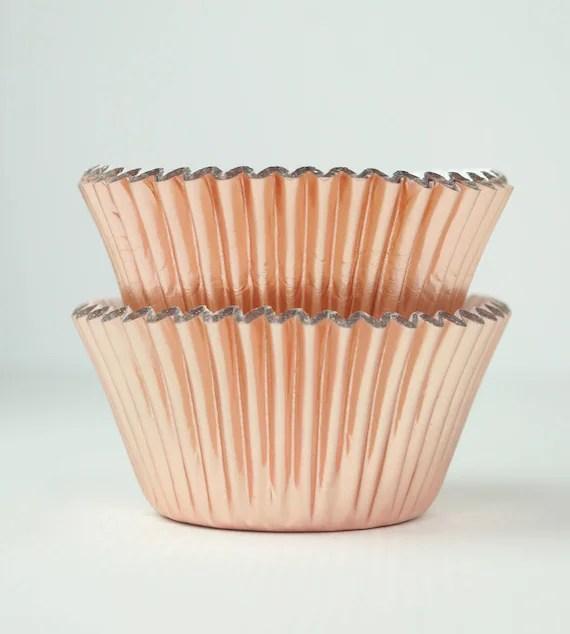 Metallic Rose Gold Foil Cupcake Liners Baking Cups 45 Ct