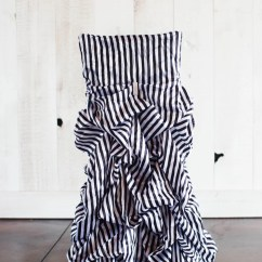 Black Ruched Chair Covers Revolving Dining White Stripe Etsy