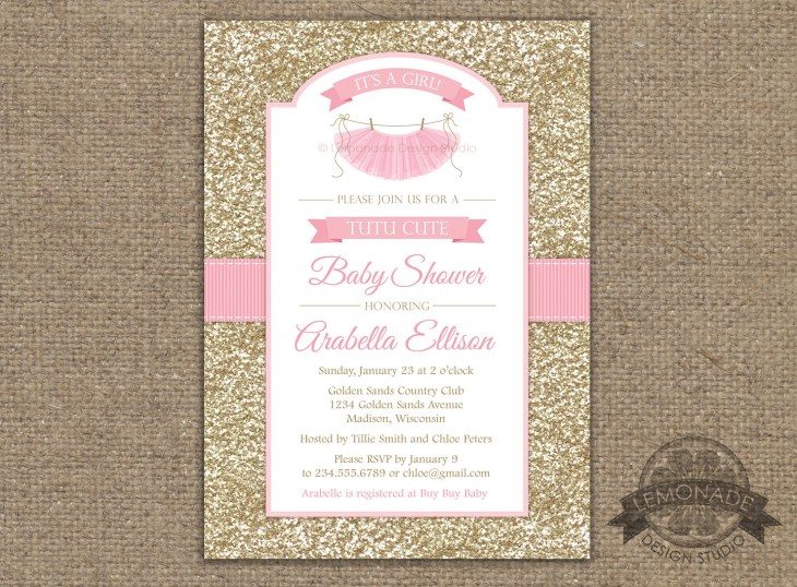 Tutu Cute Baby Shower Invitation, Gold Pink Baby Shower Invitation, Tutu  Invitations, Gold Glitter Invite, Ballerina Baby Shower, Girl Baby