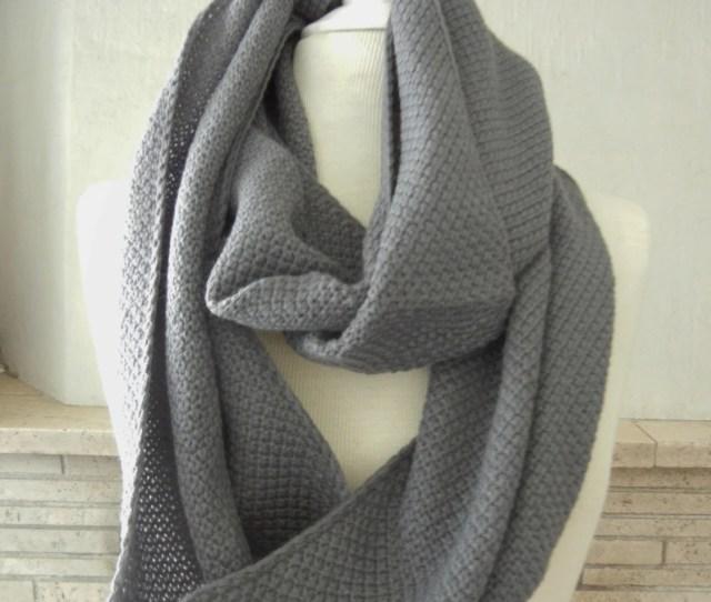 Lix Perle Lix Yarn Dark Grey And Light Grey Infinity Scarf Circular Loop Tube Versatile Hood Shawl Unisex Scarf