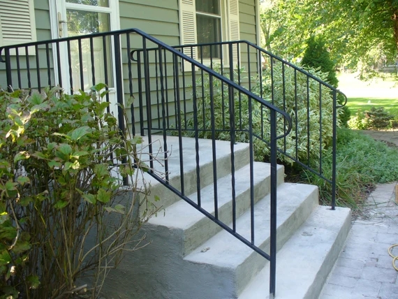 Railing For Steps With 3 Step And 3 Ft Landing One Side Etsy | 3 Step Stair Railing | Manufactured Home | Basic Deck | Residential Stair | 2 Bar | Three Step