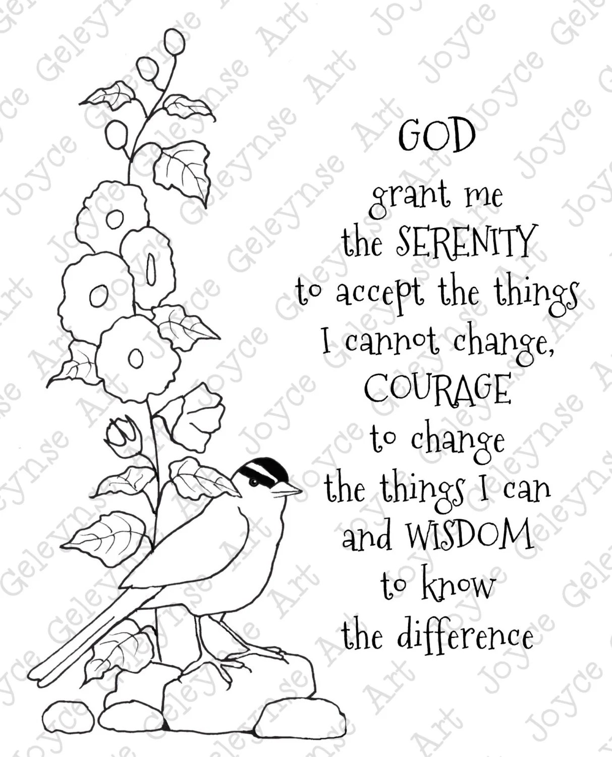 Digi Stamp Clip Art Coloring Page or Card Serenity Prayer