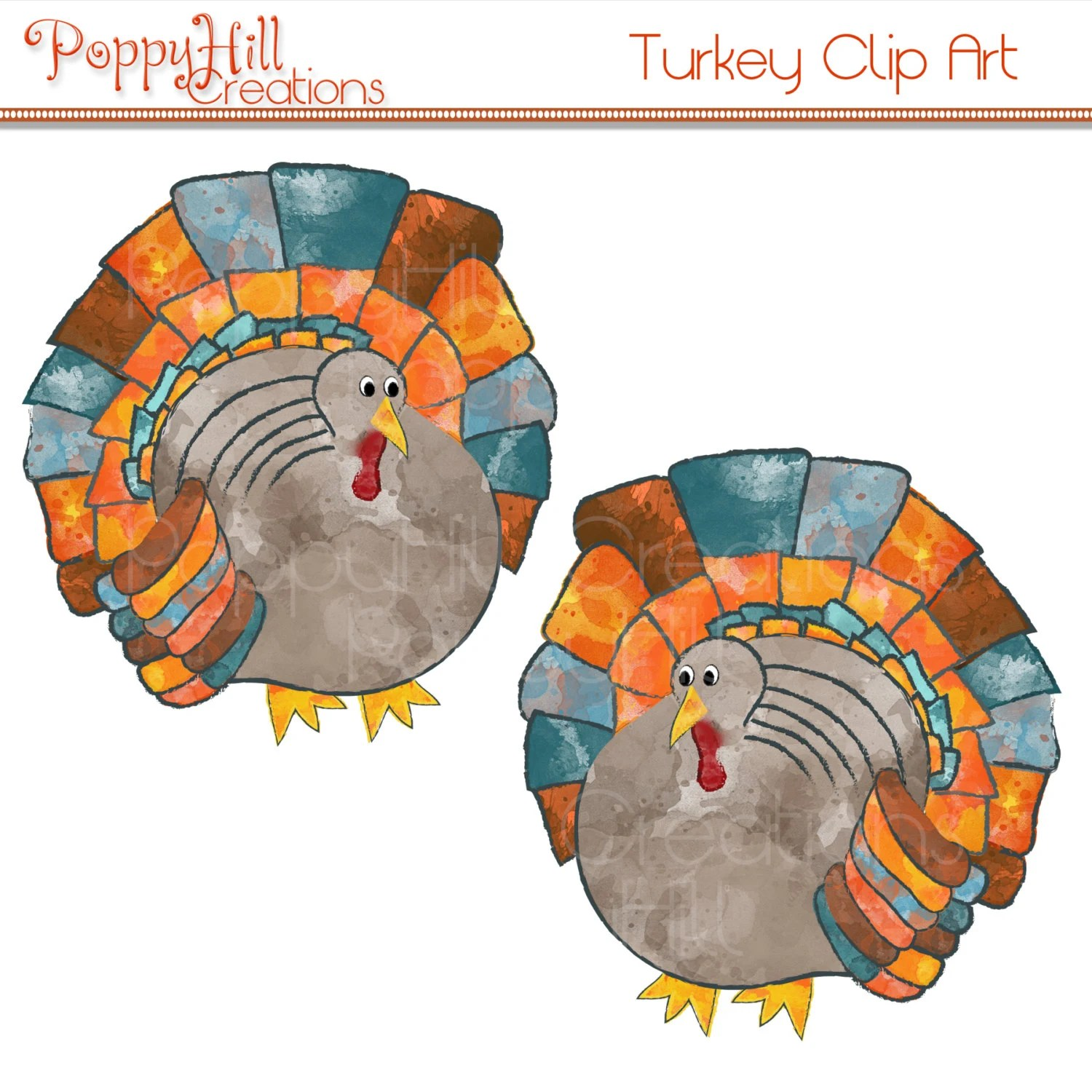 Instant Download Printable Watercolor Thanksgiving Turkey