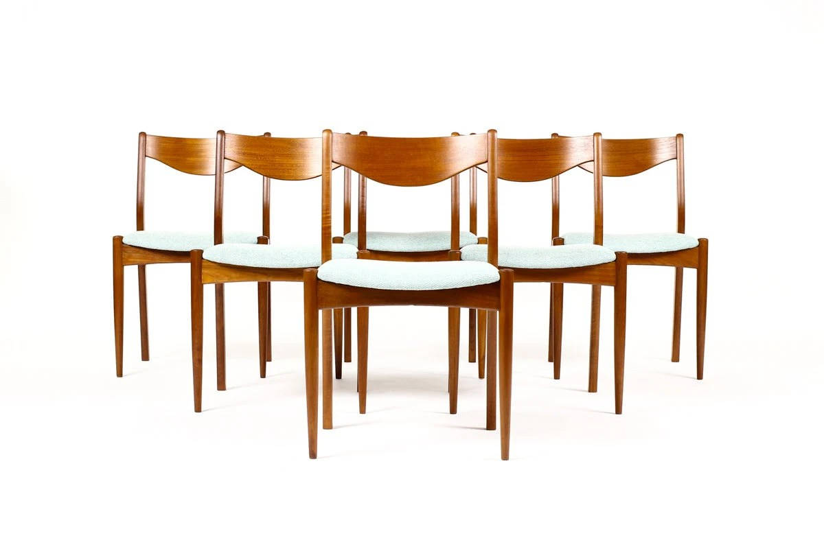 danish modern dining chairs upholstered parsons mid century teak sl mobler etsy image 0