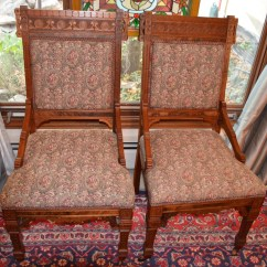 Eastlake Victorian Parlor Chairs Office Bean Bag Chair Pair Of Antique Walnut Side Dining Etsy Image 0