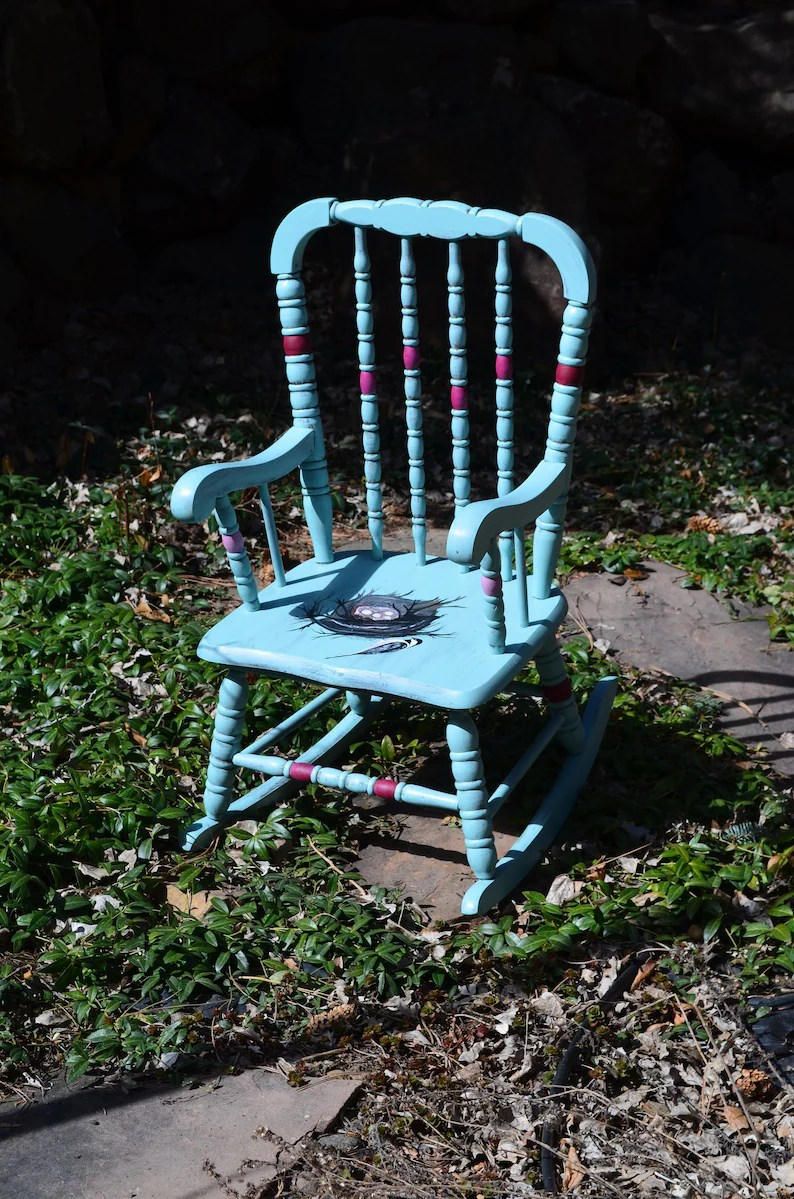 Bird Nest Chair Personalized Children S Bird Rocking Chair Hand Painted Teal Rocker W Chickadee Nest Eggs Customize W Your Child S Name Antique Rocker