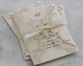Luxurious Embossed Ivory Laser Cut Gate Fold Thermography Printed Wedding Invitation Wrap RSVP Card Envelopes Card Ecru Cream Beige Gold