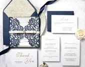 Glittering Navy Laser Cut Gate Fold Wedding Invitation RSVP Envelope Champagne Gold Glitter Mat Ribbon Bridal Shower Baby Birthday Pocket