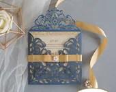 Navy Blue Shimmer Laser Cut Lace Petal Fold Wedding Invitation RSVP Card Envelope Ribbon Belly Band Pearl Glitter Gold Champagne Cream Beige