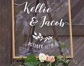 Custom Clear Acrylic Welcome Sign Wedding Baby or Bridal Shower Sign With White Wording Any Size Custom Lucite Perspex Laurel Boatanical