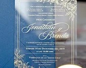 Acrylic Wedding Invitations Gold Screen Printed Floral Botanical Border Leaves Flowers Clear Lucite Bridal Baby Shower Birthday Quinceanera