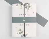 Eucalyptus Leaves Gate Fold Wedding Invitation RSVP Card Envelopes Grey Blue Belly Band Botanical Greenery Ivory White Cream Green Bridal