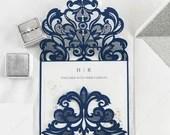 Navy Blue Shimmer Lace Laser Cut Petal Fold For Wedding Invitations RSVP Cards and Envelopes Pocket Glitter Glittering Navy