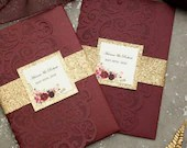 Elegant Burgundy Shimmer Laser Cut Pocket Fold Wedding Invitation RSVP Card Envelopes Glitter Gold Belly Band Baby Bridal Shower Fall Suite