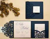 Classic Glittering Navy Laser Cut Lace Pocket Fold Wedding Invitations RSVP Cards and Envelopes Mirror Gold Custom Suite