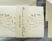 Elegant Ivory Shimmer Laser Cut Pocket Fold Wedding Invitation Belly Band RSVP Envelope Cream Beige Gold Baby or Bridal Shower Birthday DIY