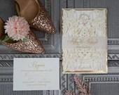 Ivory Shimmer Laser Cut Lace Gate Fold Wedding Invitation RSVP Gold Foiled Vellum Belly Band Envelope Backer Bridal Shower Baby Cream Pocket