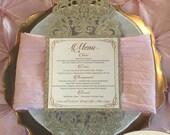 Gorgeous Champagne Glitter Laser Cut Wedding Menu Elegant Gold Ivory Shimmer Reception Table Place Setting Entree Menus Rose Gold
