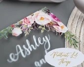 Gorgeous UV Printed Clear Acrylic Wedding Invitations Blush Pink Floral Botanical Flowers Greenery Boho UV Printing Lucite Thin or Thick