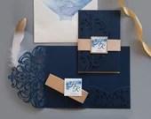 Glittering Navy Blue Laser Cut Pocket Fold Wedding Invitation RSVP Envelope Glitter Gold Belly Band Baby Bridal Shower Birthday DIY Folder