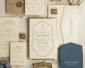 Luxurious Wedding Invitation Suite RSVP Card Envelope Save the Date Menu Pocket Fold Cream Beige Gold Blue Taupe Brown