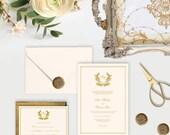 Elegant Gold Monogram Wedding Invitation and RSVP Cream White Bridal Shower or Baby Shower Neutral Custom Digital File DIY