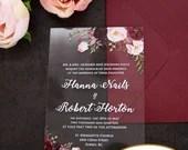 Gorgeous UV Printed Clear Acrylic Wedding Invitations Blush Pink Burgundy Marsala Wine Floral Botanical Flowers Lucite Bridal Shower