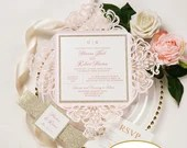 Blush Shimmer Laser Cut Petal Fold Wedding Invitation Champagne Gold Glitter Belly Band RSVP Card Ivory Pink Baby Bridal Shower Quinceanera