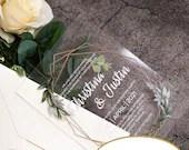 Gorgeous UV Printed Clear Acrylic Wedding Invitations Gold Frame Greenery Floral Botanical Boho Foliage Baby Bridal Shower Quinceanera