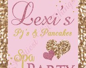 Pajamas And Pancakes Spa Party Welcome Sign Pink Gold Hollywood Glam Glitter Sequins Pj's Birthday Bridal Baby Shower Wedding Digital