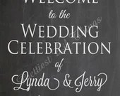 Shabby Chic Vintage Lace Chalkboard Welcome Sign Wedding Bridal or Baby Shower Birthday Party Digital DIY