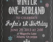 Shabby Chic Vintage Chalkboard Winter ONE-derland Invitation Birthday Party Bridal Baby Shower ONEderland Wonderland Frozen Snowflake DIY